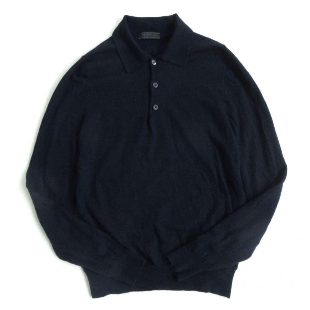 【中古】美品☆2018年 プラダ PRADA ウール100% 長袖 ポロシャツ 48 ダークネイビー ルーマニア製 正規品