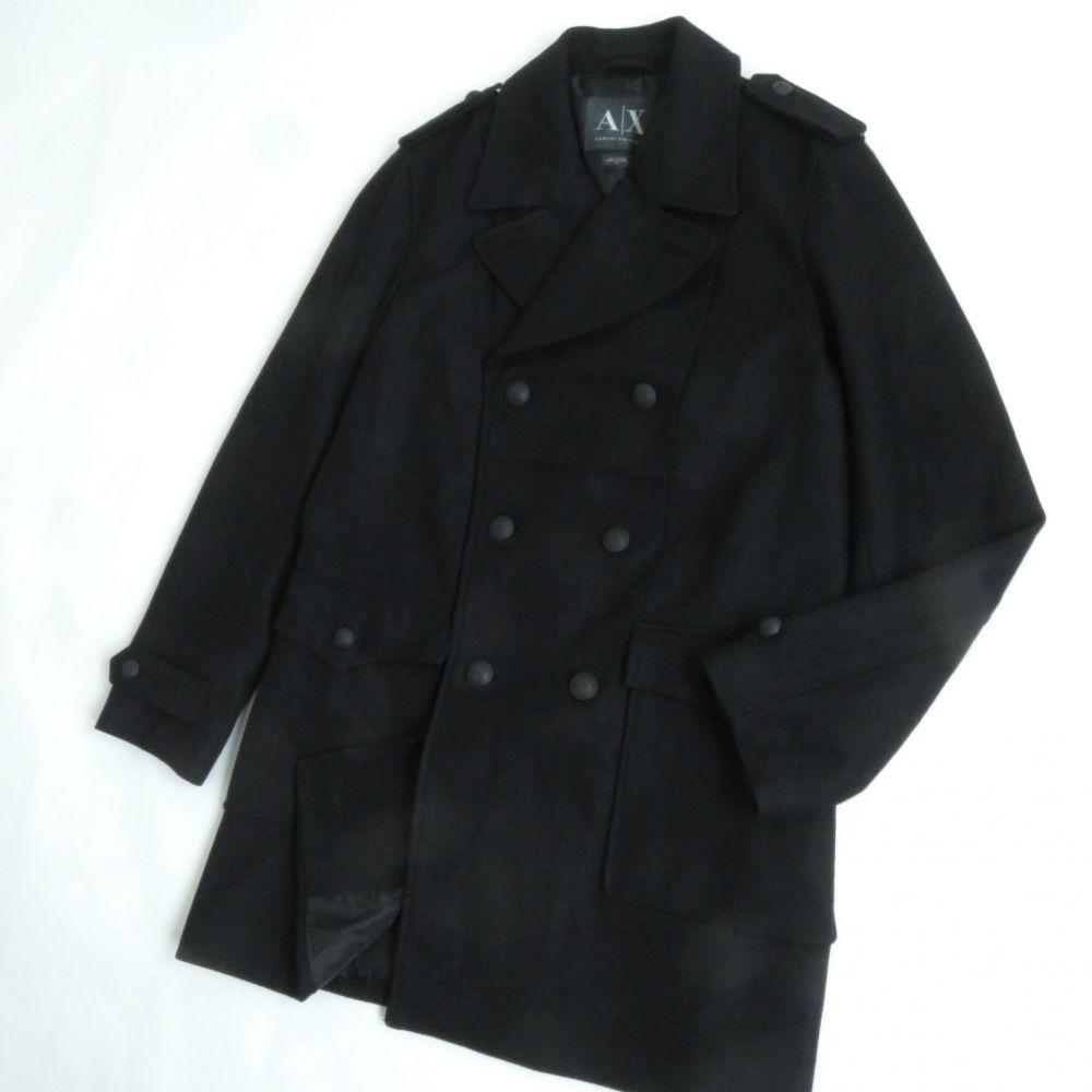【中古】極美品●アルマーニエクスチェンジ ロゴボタン付き トレンチコート/ウールコート L ブラック 正規品 メンズ シンプルなデザイン◎