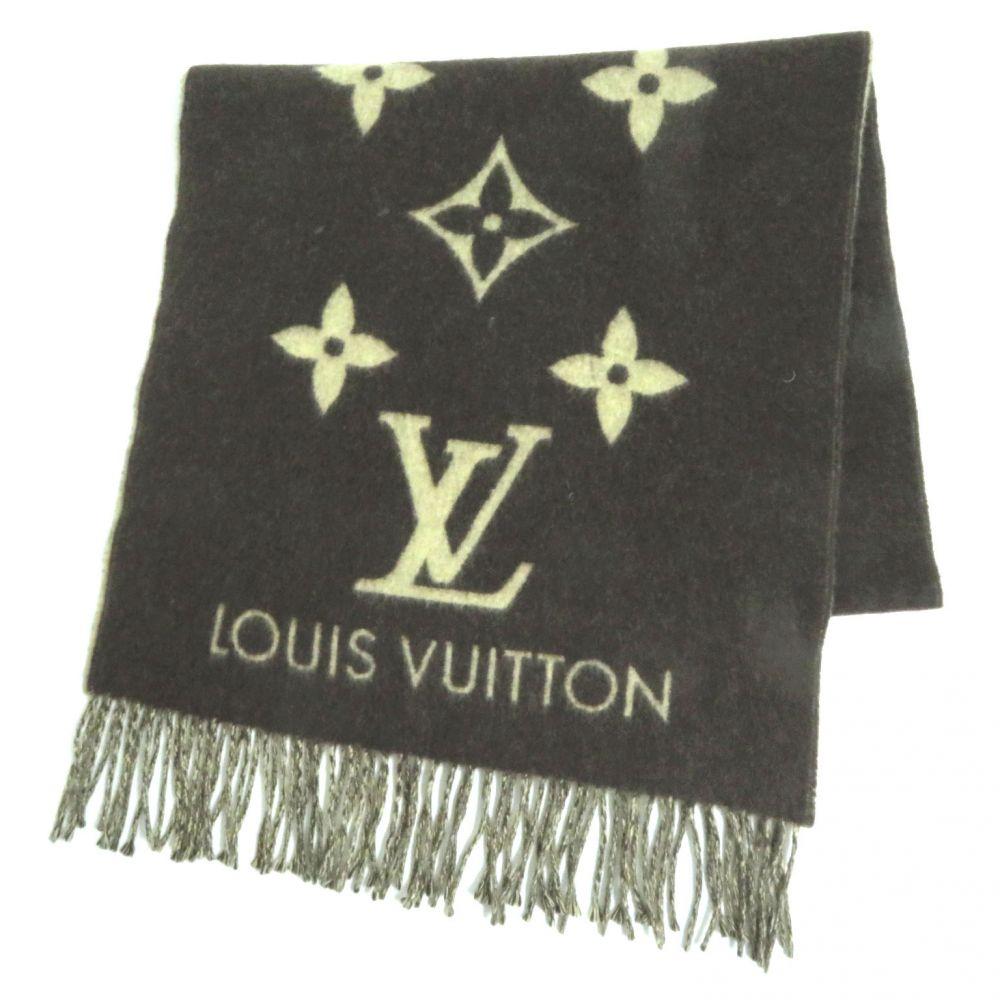【中古】美品●Louis Vuitton ルイヴィトン エシャルプ レイキャビック カシミヤ100% マフラー ブラウン×ベージュ スコットランド製 正規品