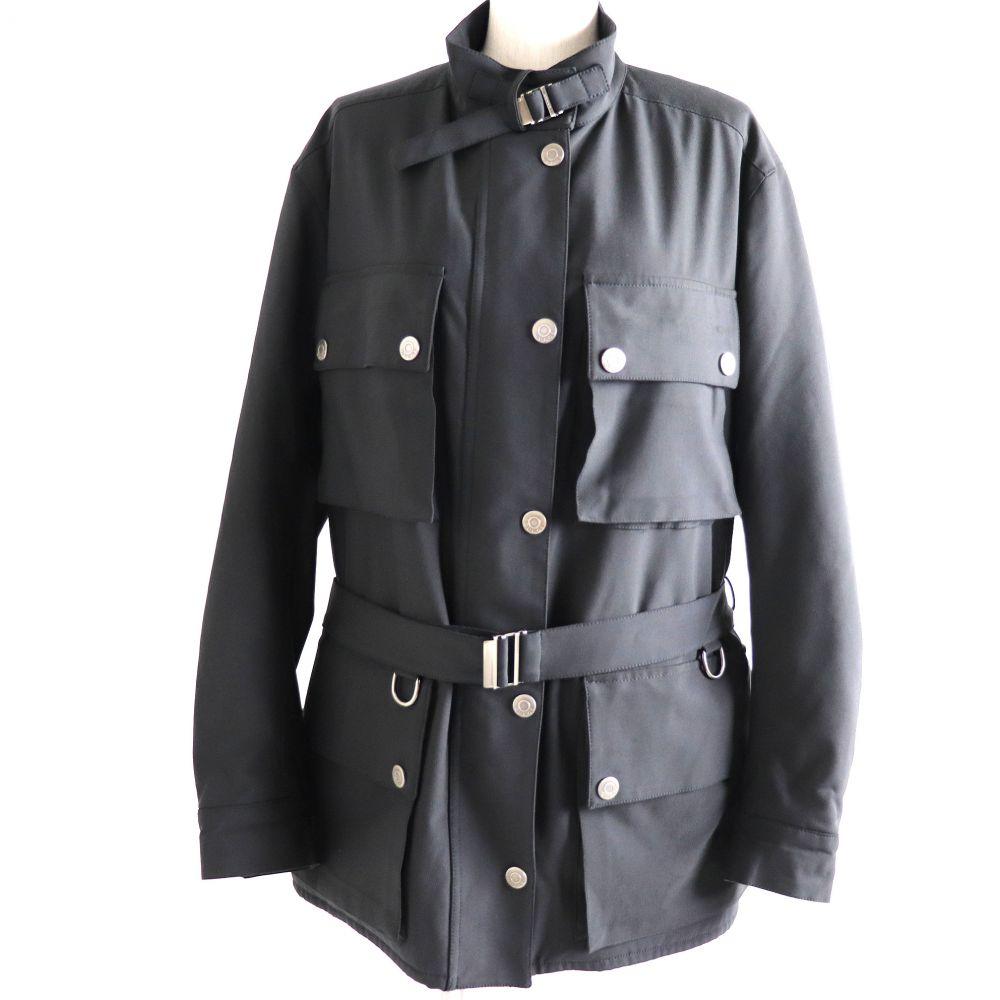 中古 良品 贈答 グッチ 214-0271-3937 トムフォード期 ベルト付き 中綿入り イタリア製 正規品 黒 レディース 送料無料 新品 40 スナップボタン×ZIP ジャケット