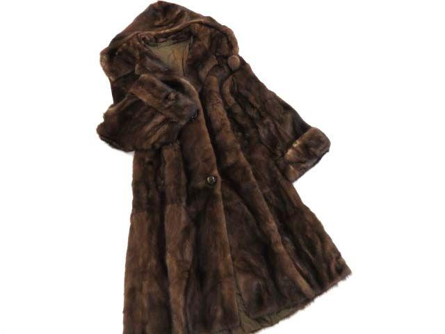 【中古】美品▼ROYAL SAGA MINK ロイヤルサガミンク ボンボン付きフード 本毛皮超ロングコート サイズL 毛質艶やか・柔らか◎