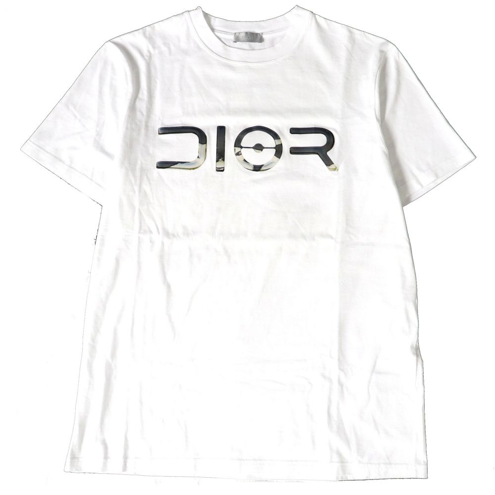 クルーネック メンズ HOMME コットン100% 【中古】極美品□19SS イタリア製 半袖Tシャツ メタリックロゴ ディオールオム×空山 ホワイト Dior M 正規品 基