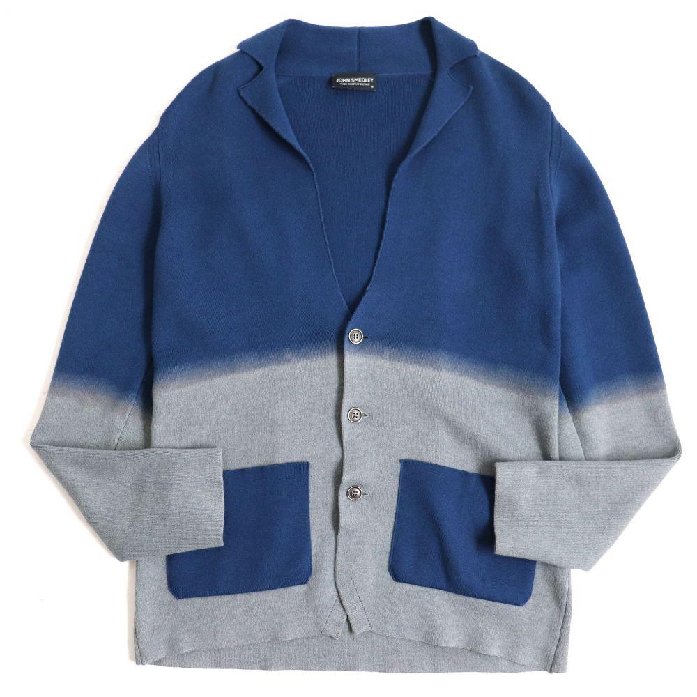 ジョンスメドレー バイカラー イギリス製 コットン100% M ニットカーディガン ブルー×グレー 【中古】極美品◆JOHN SMEDLEY 正規品