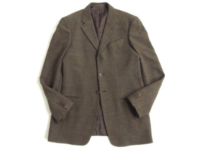 【中古】美品●アルマーニ ARMANI COLLEZIONI ウール100% シングルジャケット/テーラード ブラウン 織柄 46 イタリア製 正規品