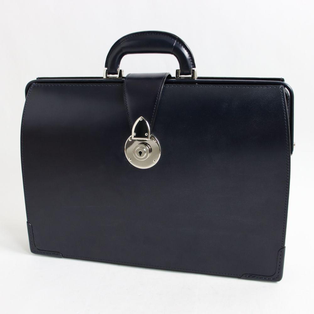 【中古】極美品☆大峽製鞄 952-BRD イタリアンダレス ブリティッシュブライドルレザー ダレスバッグ ダークネイビー 保存袋付 メンズ