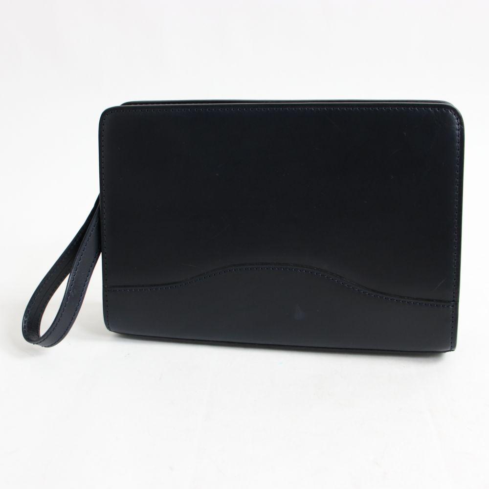 【中古】美品☆大峽製鞄 オオバセイホウ 1126-BLT カーフレザー クラッチバッグ ダークネイビー 保存袋付 メンズ