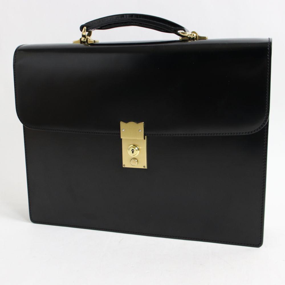 【中古】極美品☆大峽製鞄 オオバセイホウ 969-2-CDV コードバン ブリーフケース ブラック 保存袋付 メンズ