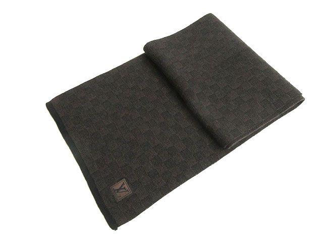 【中古】良品★2015年 ルイヴィトン M70029 エシャルプ プティ ダミエ LV刺繍パッチ付き ウール100% マフラー ダークブラウン 正規品 イタリア製