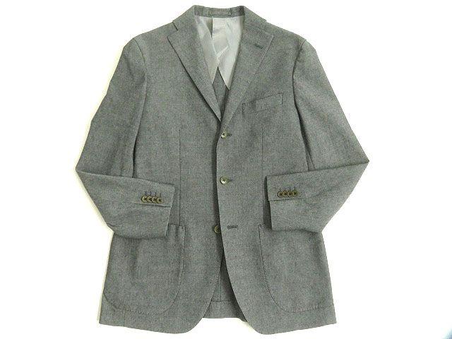 【中古】美品◎インターナショナルギャラリービームス リネン混 シングルジャケット/テーラード グレー 48 正規品
