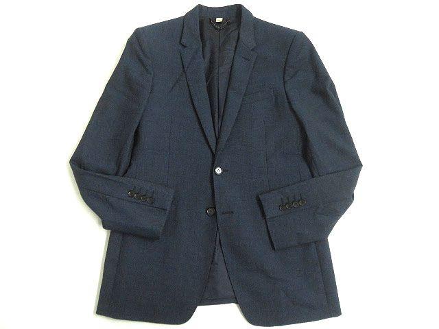 【中古】美品▼BURBERRY LONDON バーバリーロンドン ナローラペル シルク混 シングルジャケット/テーラード 48R ネイビー 正規品 イタリア製