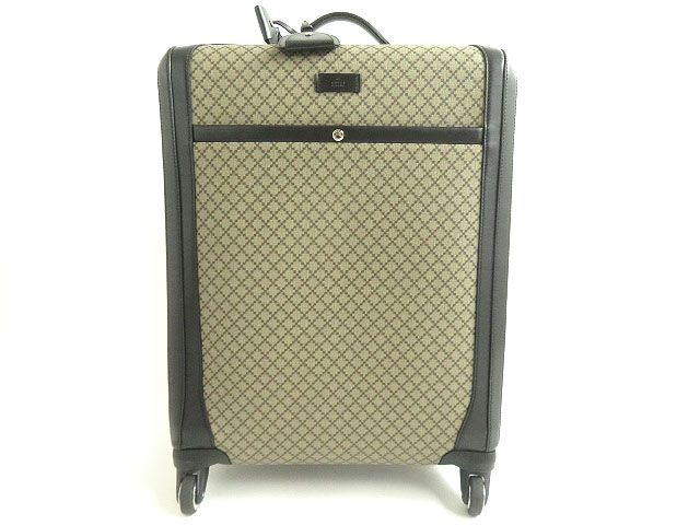 【中古】良品▼GUCCI グッチ 293908 GGディアマンテ レザー使い キャリーバッグ/スーツケース 4輪 ベージュ×ブラック イタリア製 45L相当