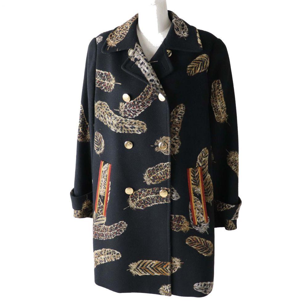 蔵 中古 出色 美品 日本製 LEONARD FASHION レオナール ファッション ロングコート レディース カシミヤ混ウール 9AR ブラック×レオパード フェザー柄
