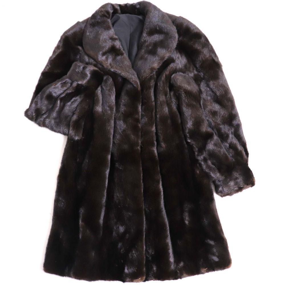 中古 美品 BLACKGLAMA MINK ブラックグラマ ミンク 逆毛 毛質柔らか サイズF 本毛皮ロングコート 商品 好評 ダークブラウン