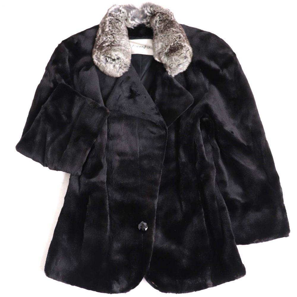 中古 買収 良品 配送員設置送料無料 MITSUKOSHI MINK 三越 ブラック×グレー 本毛皮コート 毛質柔らか 襟チンチラ×シェアードミンク