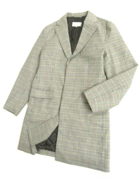 【中古】極美品▽マッキントッシュ フィロソフィー ロゴボタン付き 中綿入り グレンチェック柄 比翼仕立てコート グレー系 38 正規品
