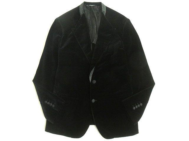 【中古】美品◆黒タグ DOLCE&GABBANA ドルチェ&ガッバーナ ベロア シングルジャケット/テーラード ブラック 46 イタリア製 正規品