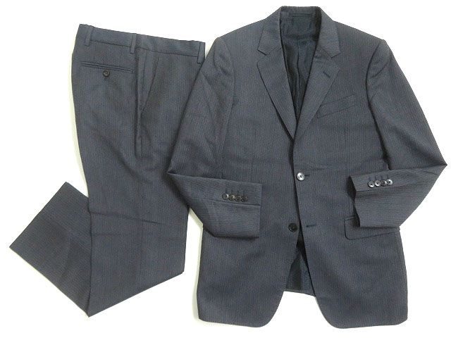 【中古】良品◎GUCCI グッチ 裏地インターロッキングG シングルスーツ 7-46R ネイビー 正規品 イタリア製 ビジネスシーン◎ メンズ