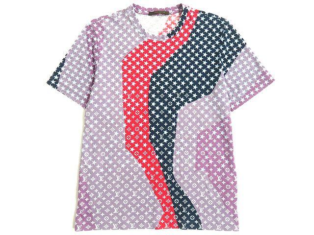 【中古】美品◆ルイヴィトン LOUIS VUITTON モノグラムスター 半袖 Tシャツ S パープル×レッド×ネイビー イタリア製 正規品 メンズ