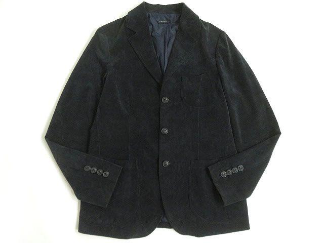 【中古】美品△黒タグ GIORGIO ARMANI ジョルジオアルマーニ 細畝 コーデュロイ シングルジャケット ブラック 52 イタリア製 正規品