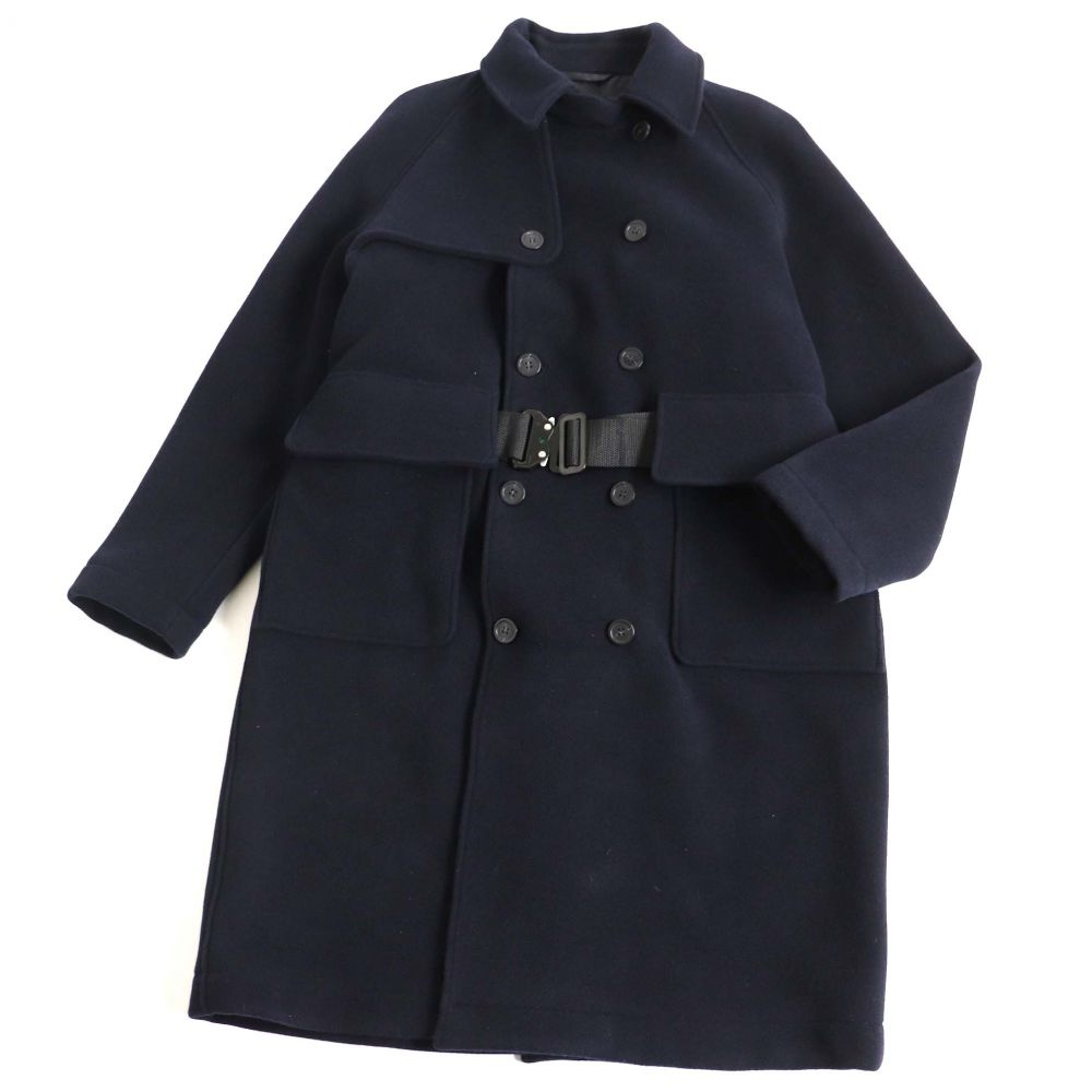 中古 美品 18AW 黒タグ 低廉 EMPORIO ARMANI エンポリオアルマーニ 52 ダブルコート ロングコート ベルト付き ネイビー メンズ 低価格化 正規品