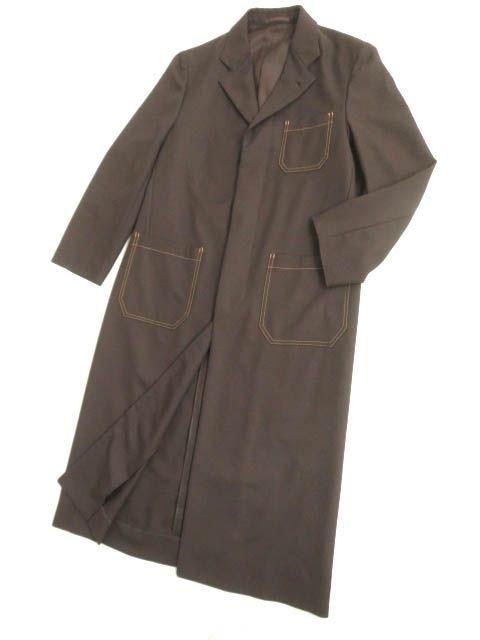 【中古】極美品▽コムデギャルソン オム 1999年 比翼仕立て チェスターコート/ロングコート ブラウン M 正規品 シンプルなデザイン◎