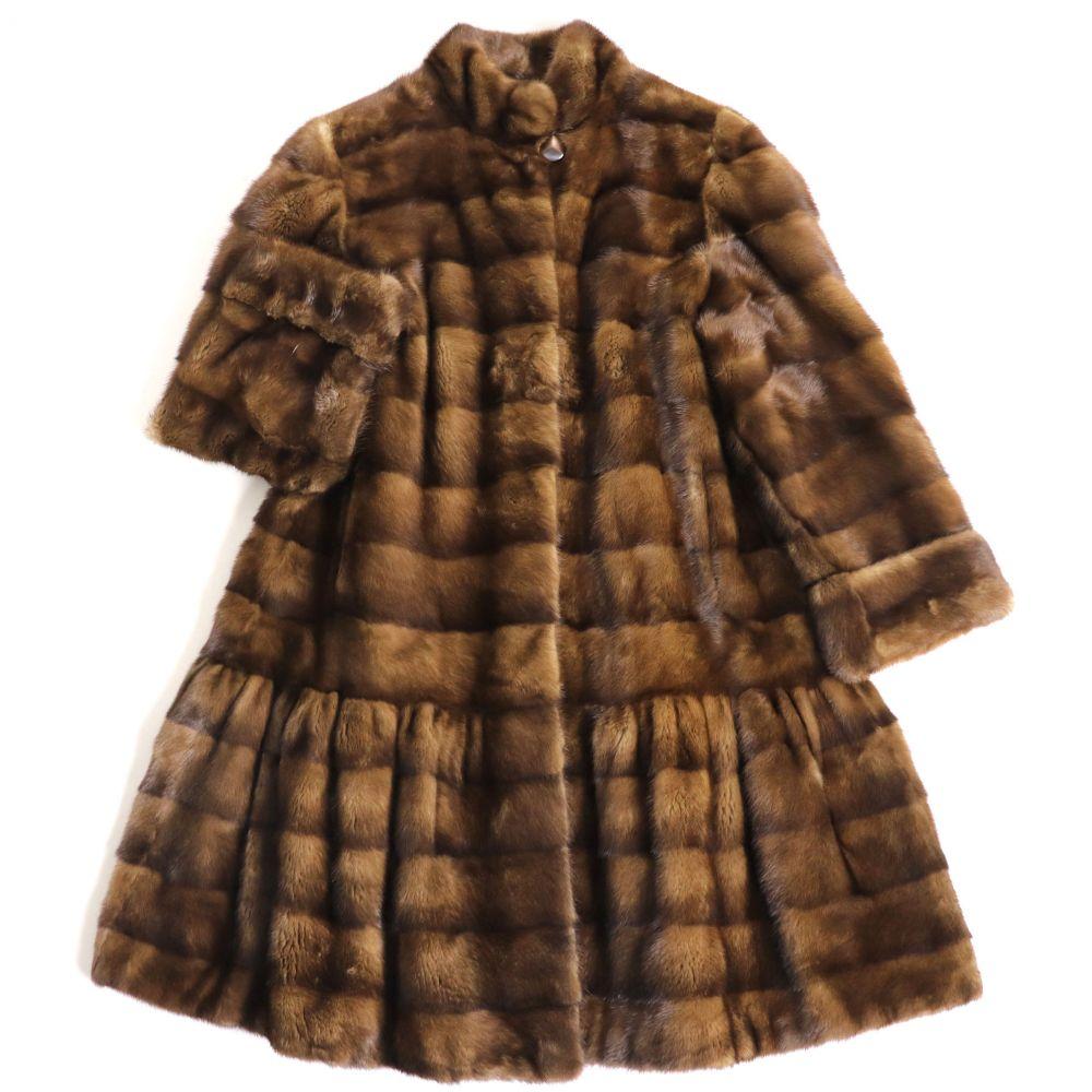 【中古】極美品▼ROYAL SAGA MINK ロイヤルサガミンク 裾フレアデザイン 本毛皮ロングコート ブラウン F 毛質艶やか・柔らか◎