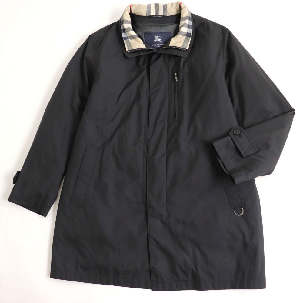 中古 美品 バーバリーロンドン 裏地ノバチェック柄使い ダウン入りライナー付き フード入り L レイヤードデザイン コート 正規品 ブラック 格安 お気に入