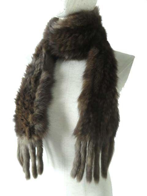 【中古】極美品◎毛皮 レディース 柔らか セーブルファー 編み込み フリンジ付き ロングショール/ロングマフラー ダークブラウン オススメ♪