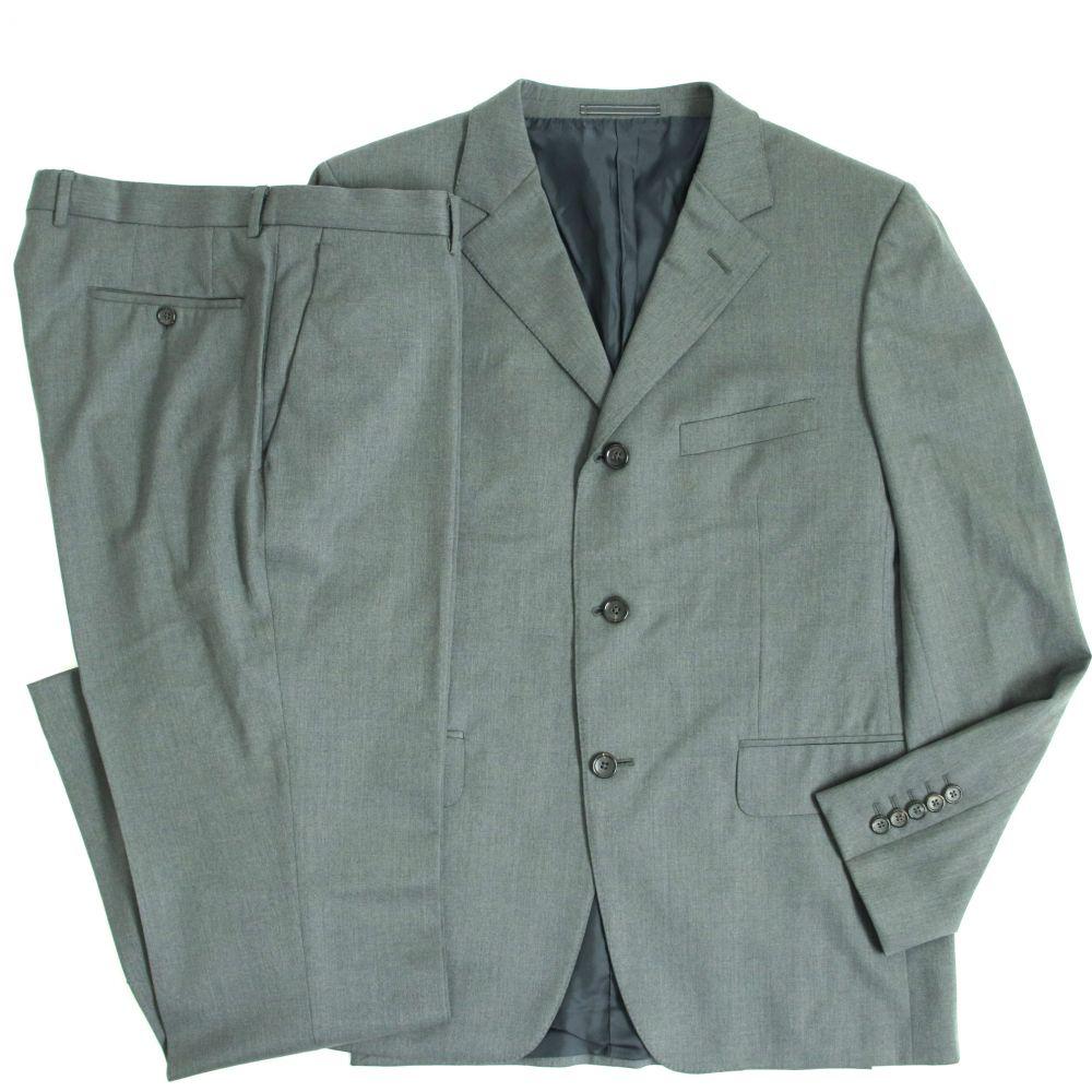 【中古】美品▽GUCCI グッチ トムフォード期 ロゴボタン付き ボタンフライ シングルスーツ グレー 50 メンズ ビジネスシーン◎