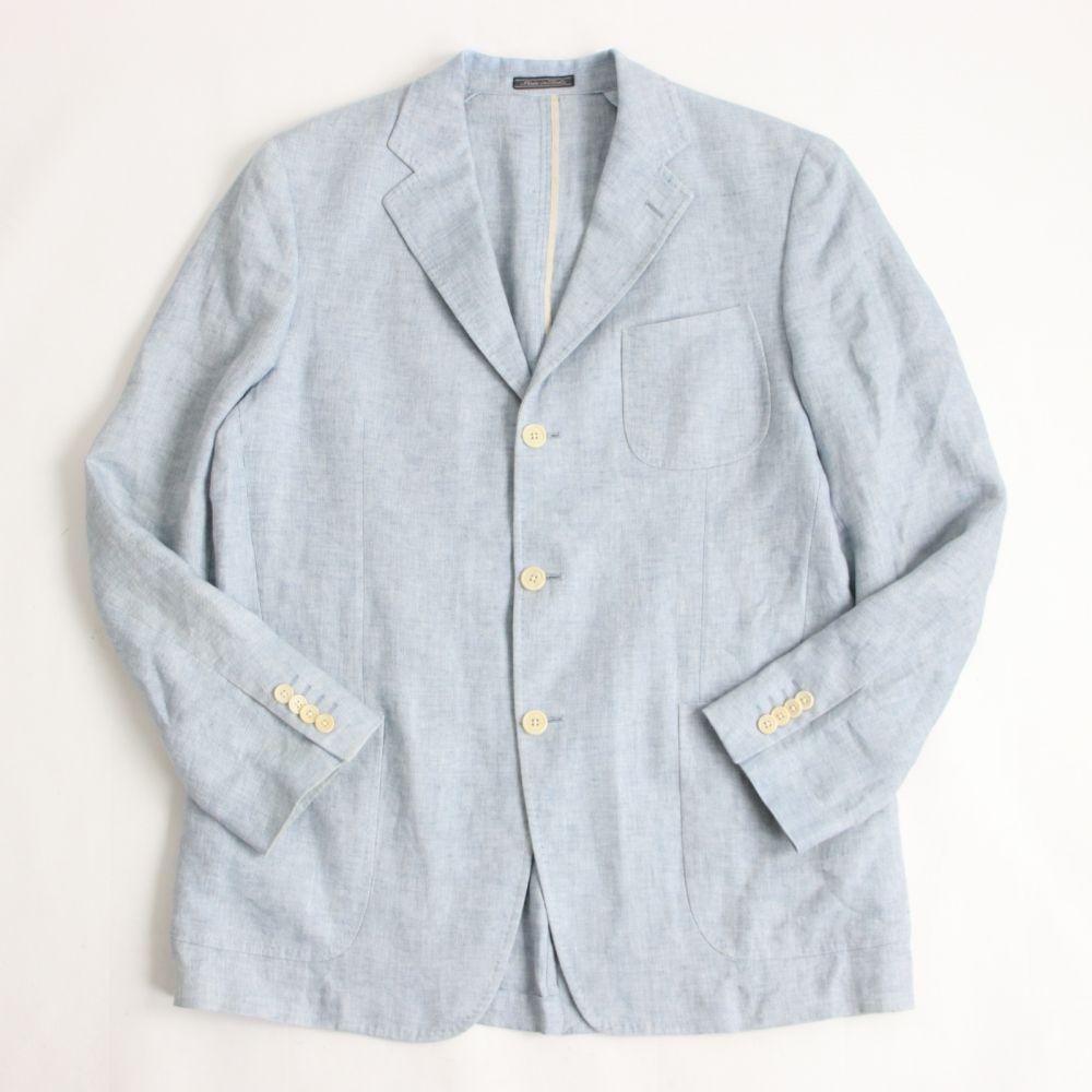【中古】良品☆サルヴァトーレフェラガモ リネン100% シングルジャケット/サマージャケット ライトブルー 54 イタリア製 正規品 メンズ