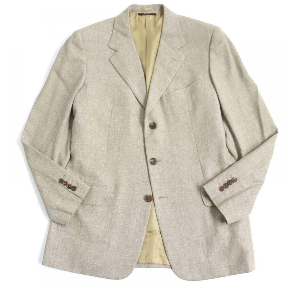 【中古】美品●HERMES エルメス 裏地ロゴ入り ウール×リネン サイドベンツ シングル サマージャケット 50 ライトベージュ イタリア製 メンズ