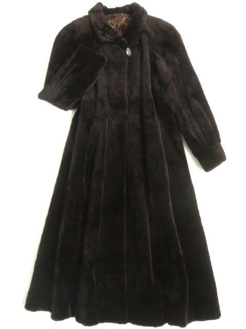 【中古】美品▼SAGA MINK サガシェアードミンク 裏地総柄 本毛皮超ロングコート ダークブラウン F 毛質柔らか◎