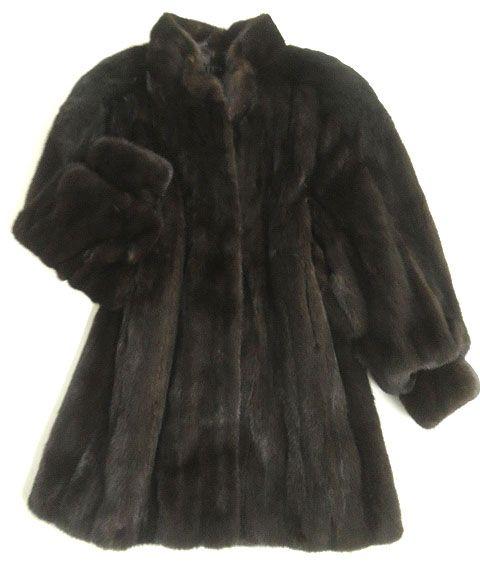 【中古】極美品▼BLACKGLAMA MINK ブラックグラマ ミンク 本毛皮コート ダークブラウン F 毛質艶やか・柔らか◎