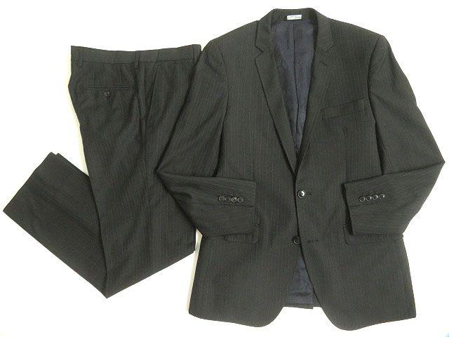 【中古】良品◎DOLCE&GABBANA ドルチェ&ガッバーナ 黒タグ MARTINI ストライプ柄 シングルスーツ チャコールブラック 50 正規品 イタリア製