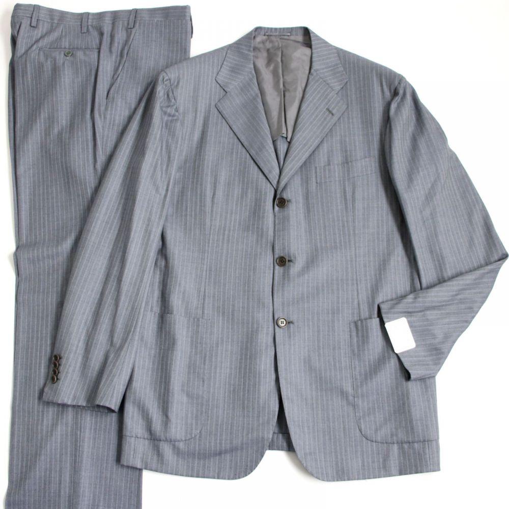 【中古】美品●Kiton キートン 14Micron 180's ストライプ柄 サイドベンツ シングル スーツ/セットアップ 52 グレー イタリア製 メンズ