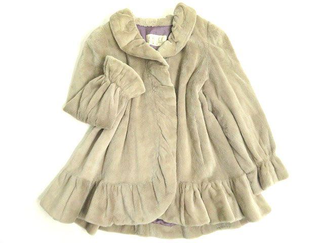 【中古】毛並み極美品▼MOONBAT MINK ムーンバット シェアードミンク フリルデザイン 本毛皮コート ライトグレー F 毛質柔らか◎