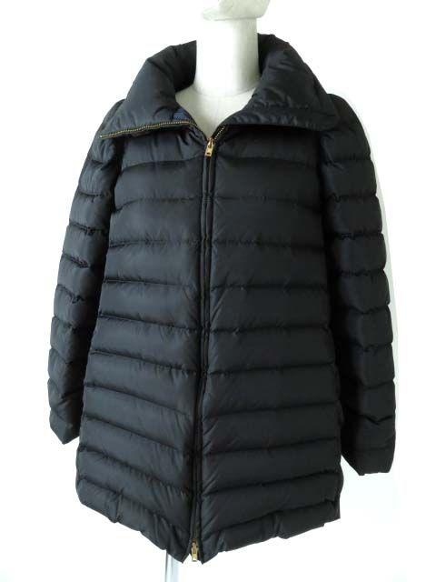 【中古】美品◎正規品 2012年 miumiu ミュウミュウ レディース フード収納可能 ZIP ダウンジャケット ブラック×ネイビー サイズ36 オススメ♪