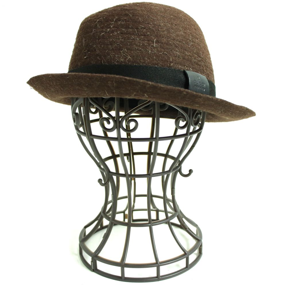 【中古】良品◆GUCCI グッチ ウール100% レザーパッチ付き ハット/帽子 ブラウン系 L イタリア製 メンズ