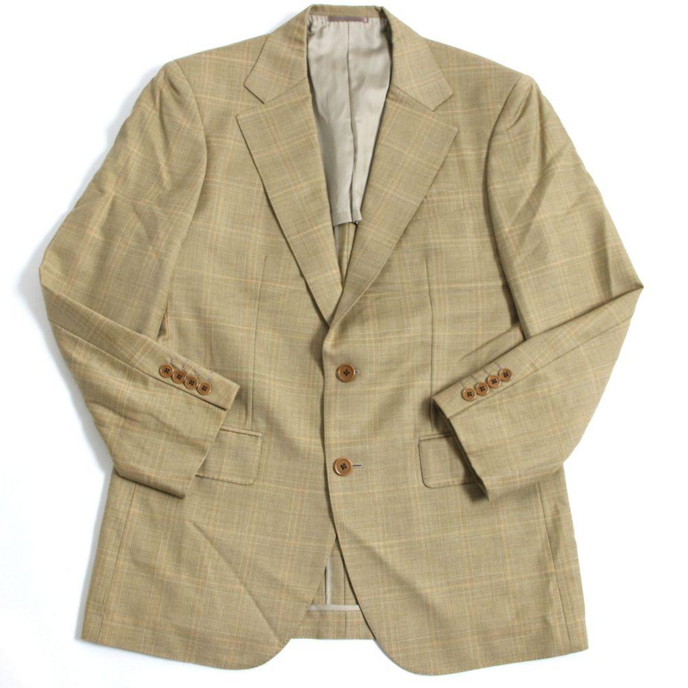 【中古】極美品□バーバリーロンドン チェック柄 スーパー120'sウール使用 シングル テーラードジャケット ベージュ 正規品 メンズ