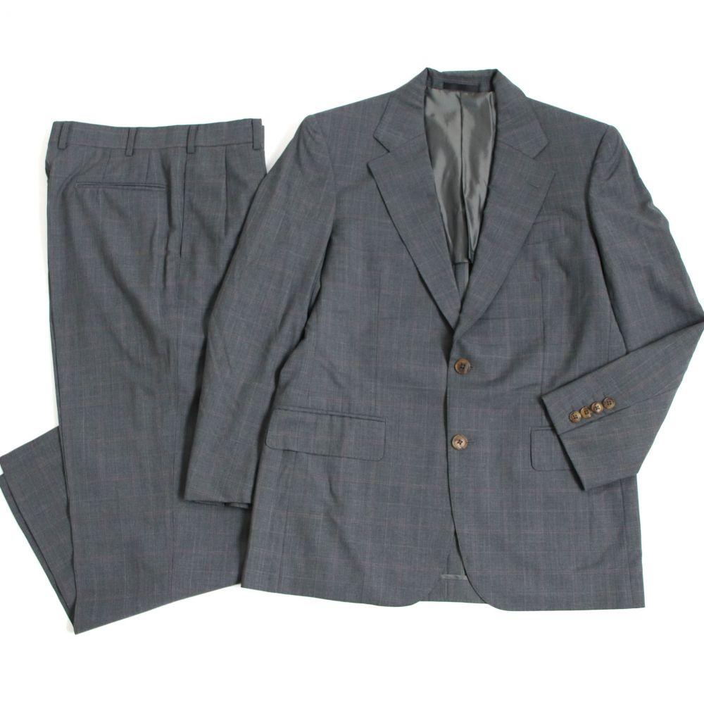 【中古】極美品□BURBERRY LONDON バーバリーロンドン チェック柄 ウール シングルスーツ グレー 正規品 ビジネスオススメ◎ メンズ
