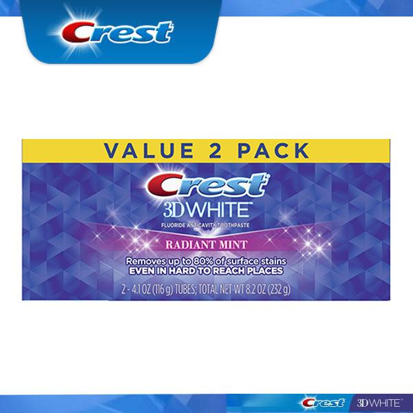 アメリカでも大人気のホワイトニング 歯磨き粉 クレスト エクスプレス便 Crest 3D White Radiant Mint 116g 白い歯 2本 ホワイトニング歯磨き粉 2 3Dホワイト お求めやすく価格改定 4.1oz ホワイトニング [再販ご予約限定送料無料] pack of ラディアントミント