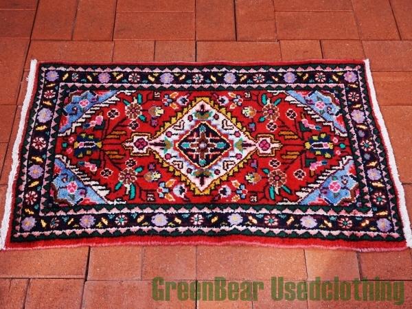 【USED】ウール絨毯 トライバルラグ 53×88cm 赤×マルチカラー【RAG208】【中古】