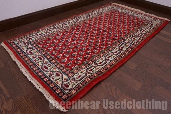 【USED】ウール絨毯 トライバルラグ 74×137cm 赤×ベージュ【RAGC336】【中古】