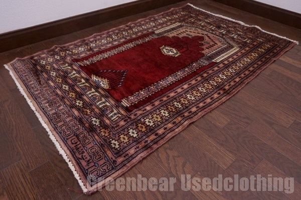 【USED】ウール絨毯 トライバルラグ 78×129cm 深紅×茶【RAGC344】【中古】