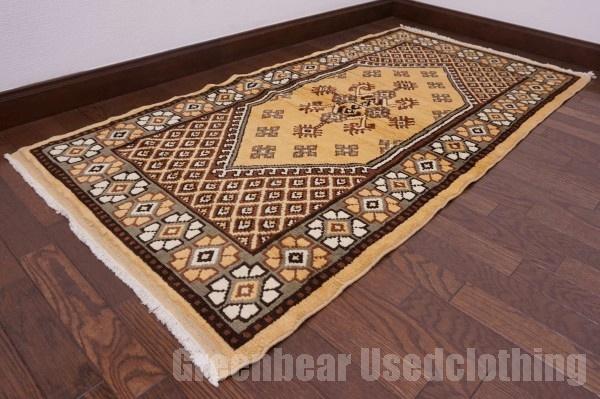 【USED】ウール絨毯 トライバルラグ モロッコ 77×153cm ベージュ×カーキ【RAGC346】【中古】
