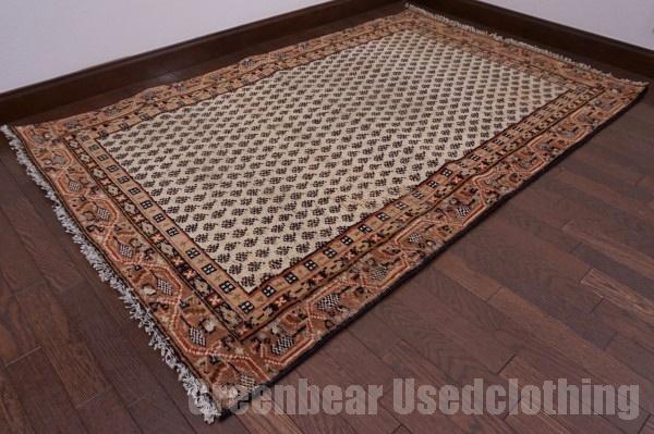 【USED】ウール絨毯 トライバルラグ 105×169cm ベージュ×茶【RAGC383】【中古】