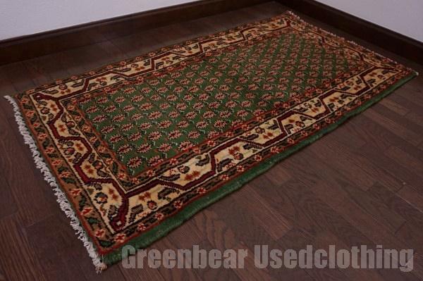【USED】ウール絨毯 トライバルラグ 70×141cm 緑×茶×ベージュ【RAGC384】【中古】