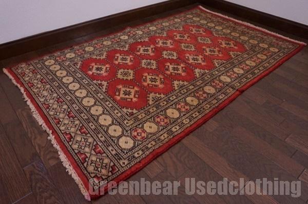 【USED】ウール絨毯 トライバルラグ 92×156cm 赤×ベージュ【RAGC395】【中古】
