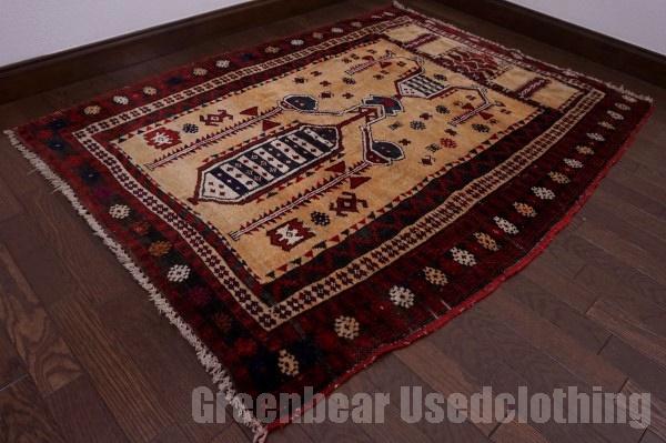 【USED】ウール絨毯 トライバルラグ 103×141cm 赤×ベージュ×茶 【RAGC401】【中古】