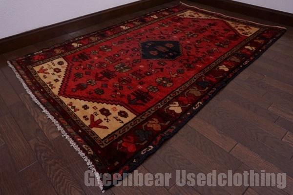 【USED】ウール絨毯 トライバルラグ 98×158cm 赤×ベージュ 【RAGC403】【中古】